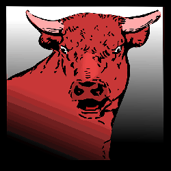 head, red, angry, bull, color, horns, animal
