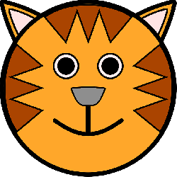 head, simple, circle, stripes, tiger, animal, smile