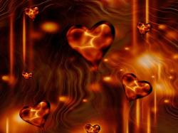 hearts, abstract, love, background, brown
