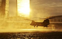 helicopter, water, sea, hovering