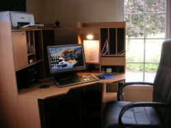 home office, office, computer, work space