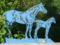 horses, blue, metal, foal, iron, silhouette, animal