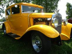 hot rod, yellow, car, exhibition, tree, summer