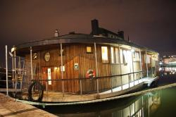 houseboat, night, boot