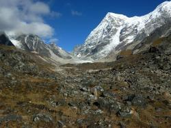 india, rathong, glacier, mountains, snow, ice