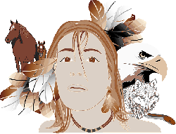 indian, girl, person, woman, face, cheval, eagle