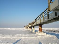 island of usedom, winter, ice, sea bridge, koserow