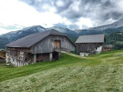 italy, landscape, scenic, sky, clouds, barn, house