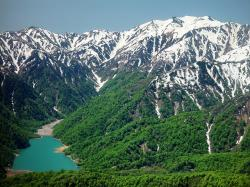 japan, mountains, snow, forest, trees, valley, ravine