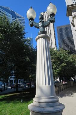 lamp, post, street lamp, lamp post, city, chicago