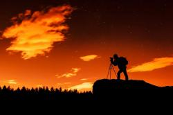landscape, camera, silhouette, photographer, night