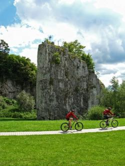 landscape, summer, rock, christian cross, biking