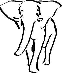 large, outline, elephant, walking, animal, ears, trunk