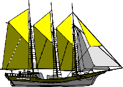 large, yellow, sailing, purple, transportation, ship