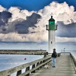 lighthouse, sky, blue, clouds, water, beach, tower, sea