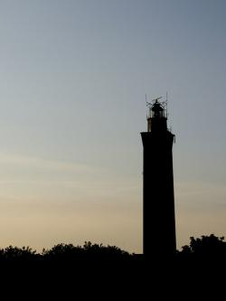 lighthouse, sunset, evening, silhouette