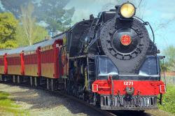 locomotive, steam locomotive, train, monument, railroad