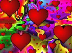 love, colorful, abstract, pop art, hearts, red