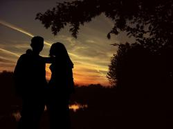 lovers, silhouette, pair, sunset, tree, longing, love