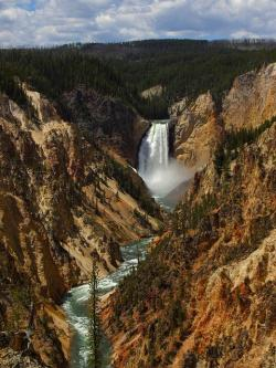 lower falls, waterfall, valley, canyon, gorge