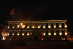 lunds, sweden, city hall, building, architecture, night