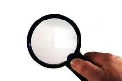 magnifying glass, hand, finger, thumb, glass, office