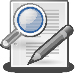 magnifying glass, pencil, search, write, edit, document