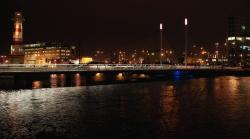 malmo, sweden, city, buildings, night, lights, river