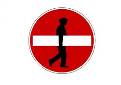 man, silhouette, board, one way street, traffic sign