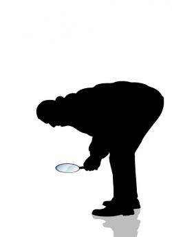 man, silhouette, search, magnifying glass, increase