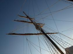 mast, ship, sailing, rigging, sky, blue sky, tall