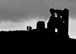 medieval, architecture, historical, people, silhouette
