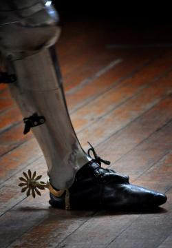 medieval, knight, shoe, foot, spur, wooden, floor