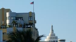 miami, beach, building, architecture, florida, flag