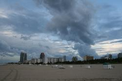 miami, beach, skyline, florida, clouds, night