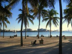 miami, florida, ocean, beach, skyline, water