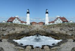 mirror image, lighthouse, effect, landscape, effects