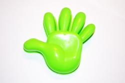 model, hand, plastic, green, background