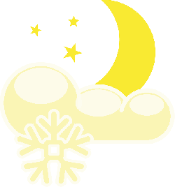 moon, stars, night, cloudy, frost, snow, cold, snowing