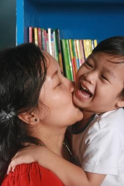 mother, son, kiss, library, happy, kid