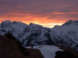 mountain, kriegerhorn, lech am arlberg, snow, sunrise