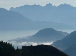 mountain, mountains, back light, haze, fog, ridge