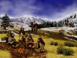 neanderthals, prehistoric, mountains, animals