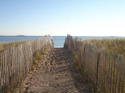 new england, beach, ocean, path, fence