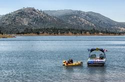 new hogan lake, california, boats, man, boy, raft