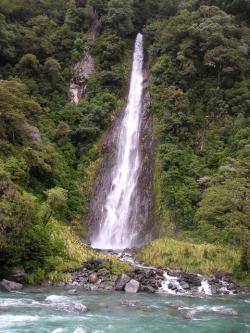 new zealand, waterfall, nature, landscape