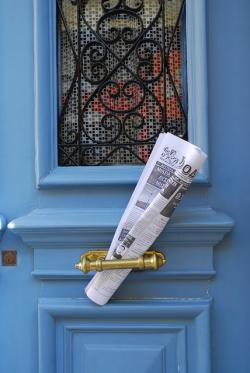 newspaper, blue door, paper, news, chios, design