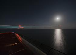 night, aircraft carrier, ship, sea, ocean, water