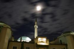 night, sky, clouds, moon, mosque