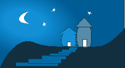 night sky, home, house, stairs, night, mountains